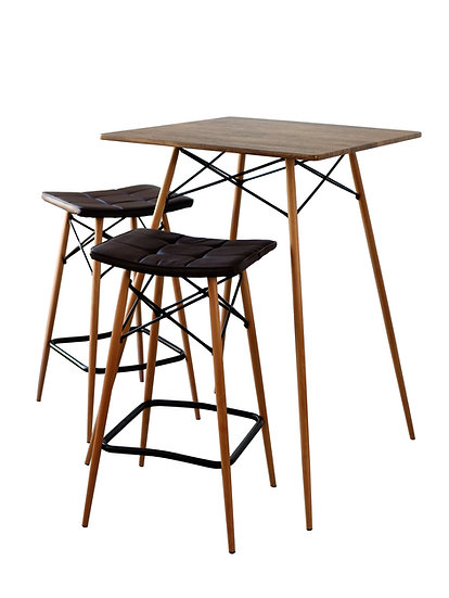 3 pcs Modern Pub Table Dining Set, Rustic Brown Table with 2 Bar Stools