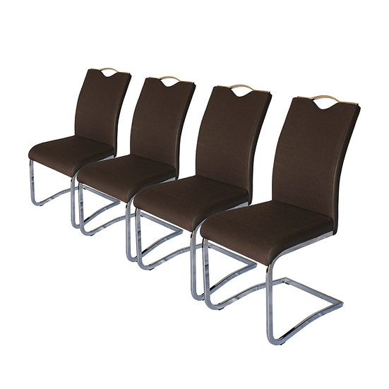 Set of 4 Dining Chair High Back Fabric and PU Leather with Chrome Metal Base