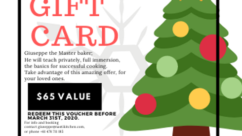 Christmas Master cooking class gift card