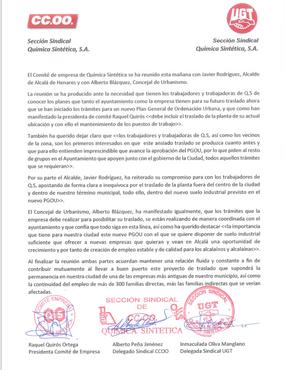 EL COMITÉ DE EMPRESA DE QUIMICA SINTETICA SE REUNE CON EL AYUNTAMIENTO DE ALCALÁ