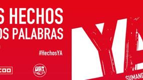 UGT y CCOO celebran hoy en Madrid un acto sindical con 10.000 delegadas y delegados