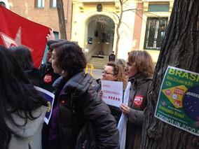 UGT FICA participa en la concentración ante la Embajada de Brasil en Madrid a favor de un juicio jus