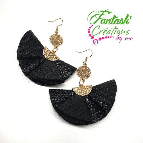 """Boucles d'oreilles """"Eventail"""" simili cuir"""