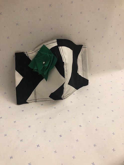 Black and White Chevron Mask With Square Green Flower