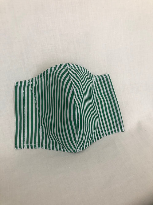 Green Stripe White Cotton Mask