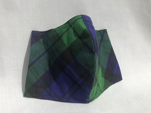 Green & Navy Check Mask
