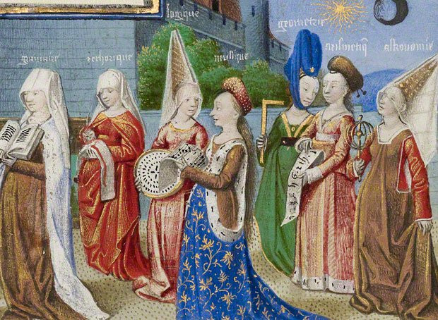 A painting from around 1450 depicting women sporting a variety of hat styles. The two women on the far left are wearing wimples. The conical princess-like hats are known as Hennin. Source: https://historyofeuropeanfashion.wordpress.com/category/medieval-1100-1450/