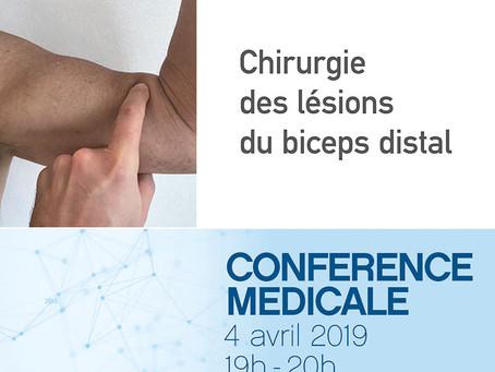 Conférence médicale : Chirurgie des lésions du biceps distal 04.04.2019