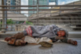 depression poor homeless man getting to
