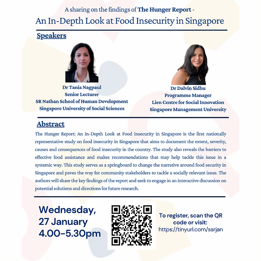 The Hunger Report with Dr Tania Nagpaul and Dr Dalvin Sidhu | SSR Seminar Series