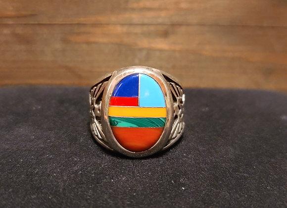 Multistone Oval Navajo T. Bird Ring 9.5