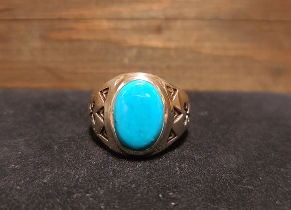 Small Turquoise Crossed Arrows Signet 8.75 & 10