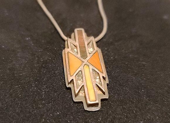 Old Tiger Eye Navajo Silver Pendant