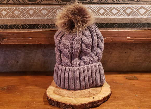 KNIT POM HAT CHARCOAL