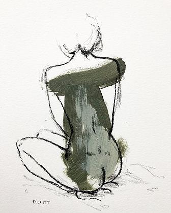 Sitting figure in green smoke