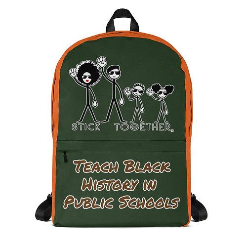 Teach Black History Backpack Deep Green/Orange