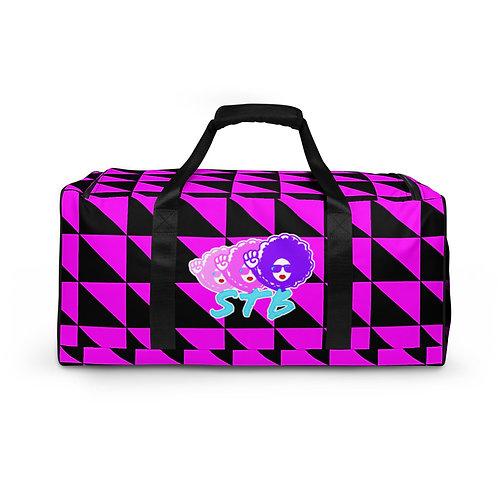 Retro Pink Checkered Travel Bag