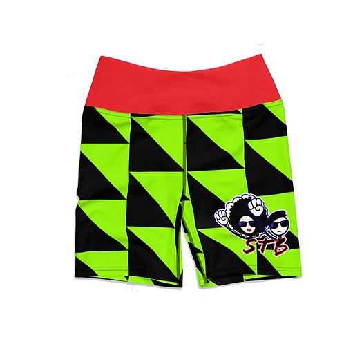 Retro Lime Checkered Biker Shorts