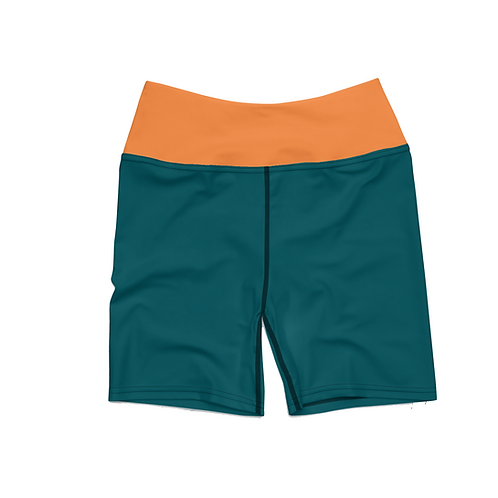True Teal Biker Shorts