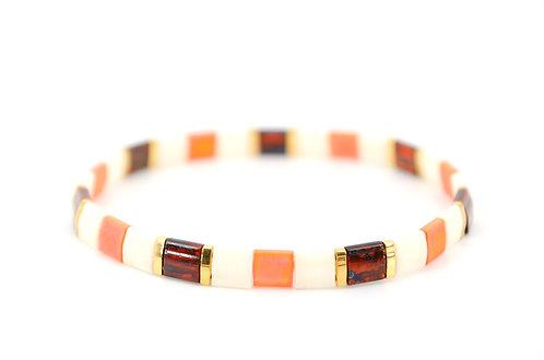 Armband Bunt Gold Tila Perlen Elastik Handmade Individuell