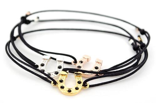 Armband Schmuck kaufen online Gold Rosegold Silber Pferd Hufeisen Glück Handmade Shop Schwarz