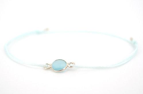 filigranes Armband in Blau mit Silber und Stein