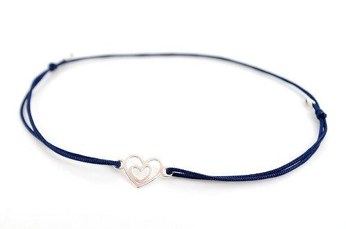 Armband Herz in Herz Silber 925 Sterling kaufen Online Shop Schnur Faden Geschenk Liebe