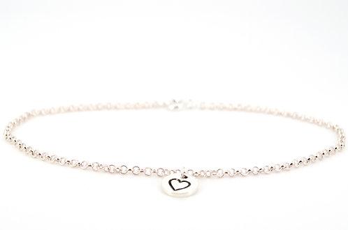 Fußkettchen Rollo in Silber mit Anhänger Herz Schmuck Accessoires für Damen und Mädchen Handmade