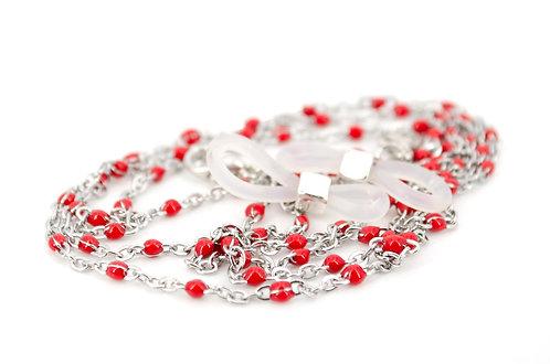 Brillen- und Maskenkette Satellit Silber Rot