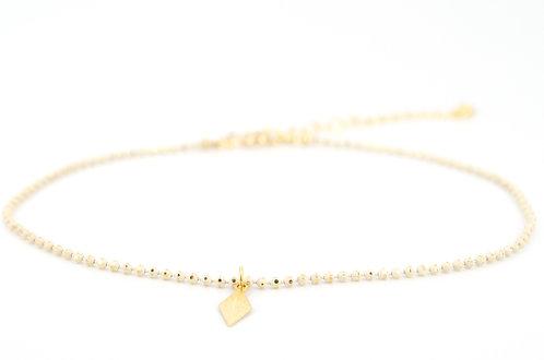 Fußkettchen Sweety XS Gold Beige Elfenbein Creme mit Anhänger Gold zarte Kugelkette Schmuck Accessoires Modeschmuck Strand