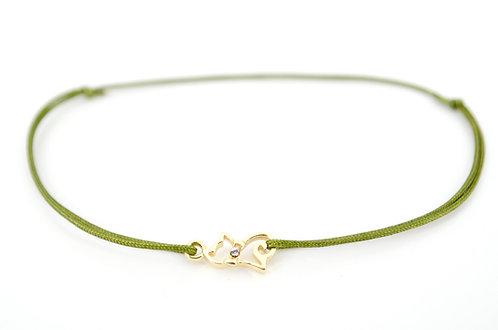 Armband S Katze Gold Swarovski Handmade Schmuck kaufen Damen Geschenk Tiere Liebe verschiedene Farben Band Schnur Faden