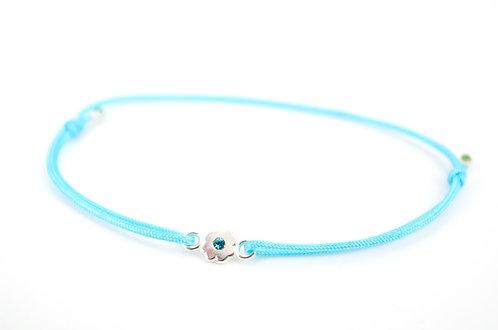 Armband S Blume Silber Blue Zircon