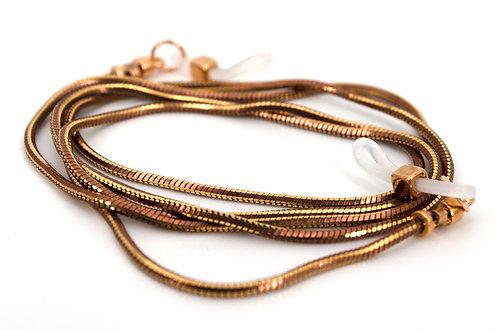 Brillenkette Gold Braun Brillenhalterung