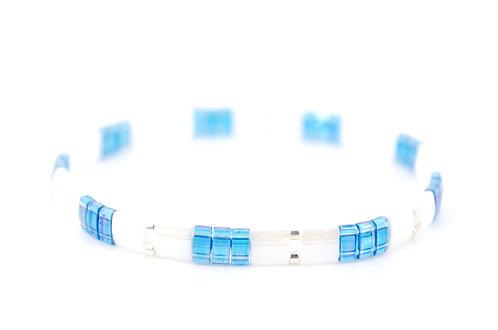 Armband Perlen Blau Weiss Silber kaufen online Shop