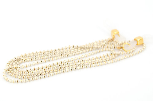 Brillenkette Maskenkette Gold Elfenbein Weiss Facette