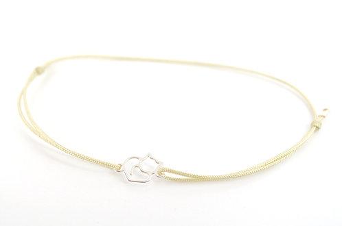 Armband Katze XS klein Silber mit Schiebeknoten dünnem Band Faden Schnur filigran Schmuck Damen