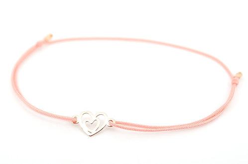 Armband Herz in Herz Rosegold kaufen Geschenk Damen filigran Handmade Schmuck Glücksarmband Make a wish