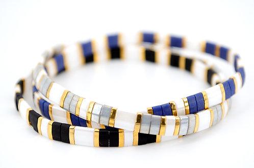 Armband Schmuck Damen kaufen online Shop Zugband elastisch Gold Weiss Schwarz Blau Grau Geschenk Handmade individuell Perlen