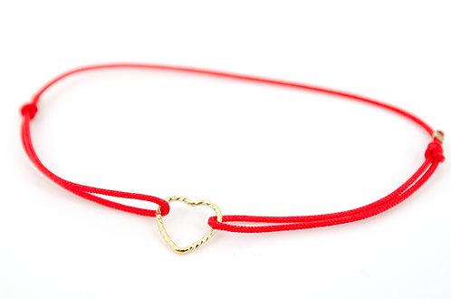 Armband Herz Fil Gold gehämmert Schmuck kaufen Liebe Online Damen Textilband