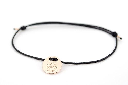 Armband Rosegold Plättchen Gravur Lebe Liebe Lache als Geschenk für Familie oder Freunde individuell angefertigter Schmuck