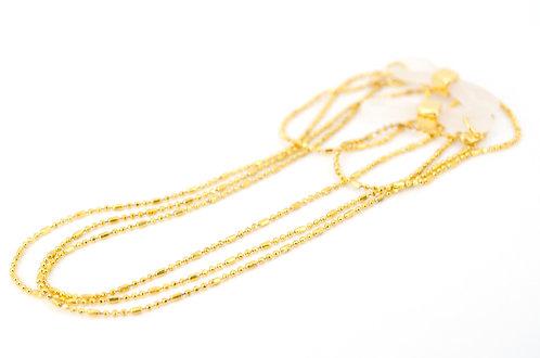 handgefertigte Brillenkette in Farbe Gold aus facettierter zarter Kugelkette mit anpassbarer Silikonschlaufe