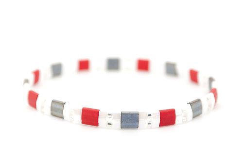 Armband rot Damen Schmuck kaufen Perlen weiss grau elastisch