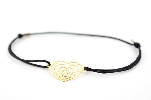 Armband Herz Labyrinth Gold Schmuck Handmade mit Band Schnur Faden kaufen online Accessoires