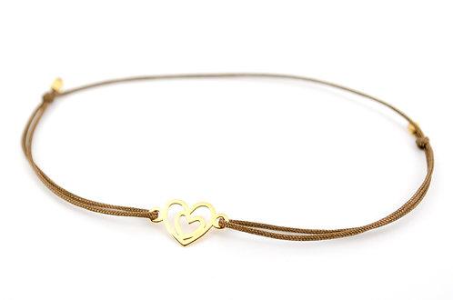 Armband Herz in Herz Gold filigran dünn Damen zart Handmade online kaufen Shop