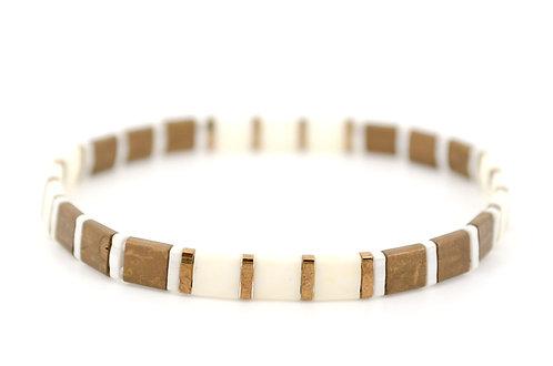 Armband Perlen braun weiss Damen Schmuck kaufen handmade handgemacht braun Bronze