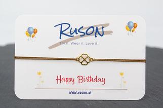 armband schmuck online kaufen handgemacht happy birthday alles gute zum Geburtstag kleeblatt glück familie freunde