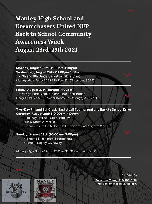 Manley High School and Dreamchasers United NFP Back to School Community Awareness Week Aug