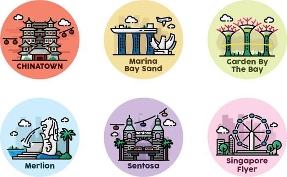 Singapore Line Art (Color)