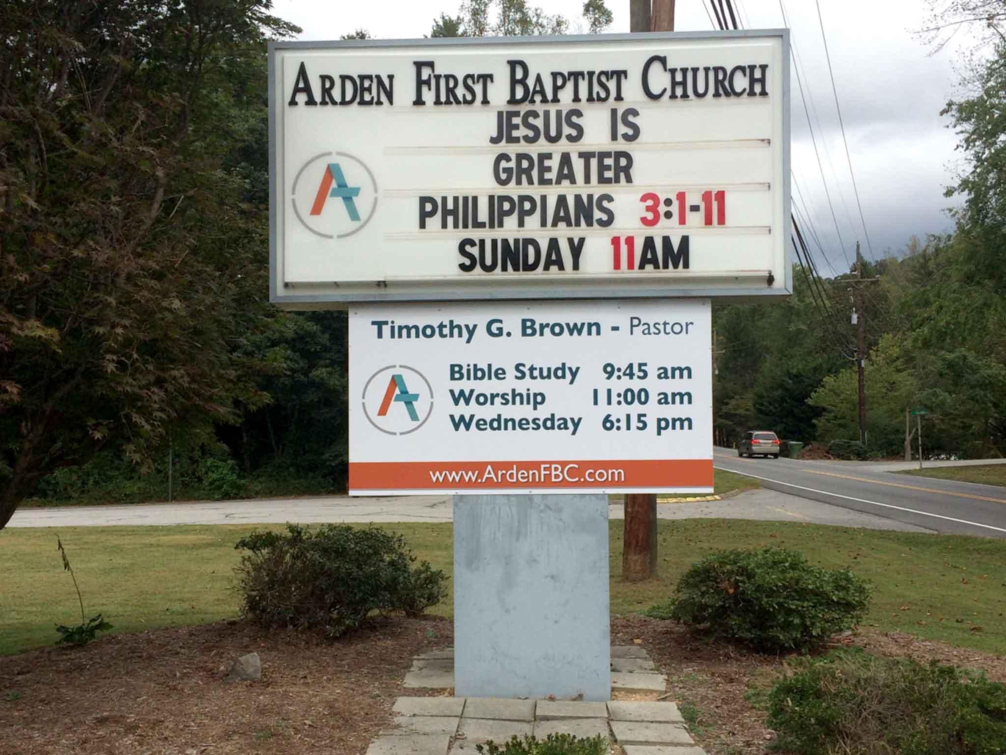 Arden First Baptist Entrance Sign