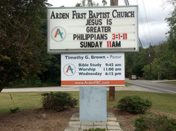 Arden First Baptist Entrance Sign